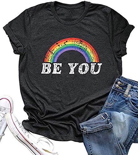 Gay Pride Be You Shirt Women LGBT Rainbow Cute Tees Top Letter Print Short Sleeve Lesbian Graphic T Shirt Tee (Small, Dark Grey)