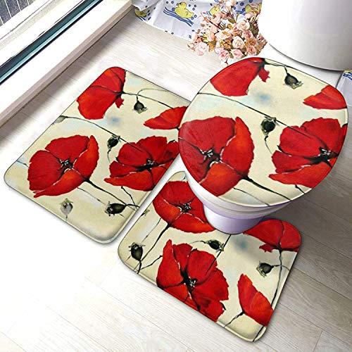 Best Design Red Poppies Flower Oil Painting Bathroom Rugs Basketball Fans Set 3 Piece Mat Set Bath Rugs Antiskid Pad+ Contour Mat + Toilet Lid Cover