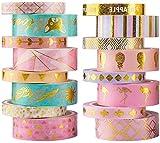 YUBX 16 Rollo Oro Washi Tape Set Masking Tape cinta adhesiva decorativa Washi Glitter Adhesivo de Cinta Decorativa para DIY Crafts Scrapbooking (Gold 16)