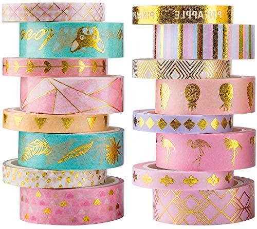 YUBX 16 Rouleau Gold Washi Tape Set Masking Tape de ruban adhésif décoratif VSCO pour travaux manuels, journaux Bullet Journals, planificateurs, scrapbooking, emballage (Gold 16)