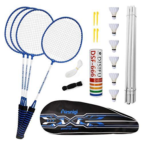Airsnigi Badminton Set, 4er Profi Badmintonschläger mit 4 Federbälle, Leichtgewicht Badminton Schläger Federballschläger Set für Kinder Training, Sport und Unterhaltung mit Schlägertasche