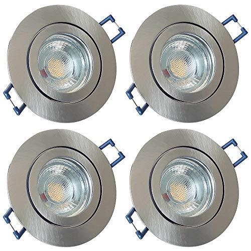 LED Bad Einbaustrahler 230V inkl. 4 x 3W LED LM Farbe Eisen geb. IP44 LED Einbauleuchten Aqua Rund 3000K Deckenspots