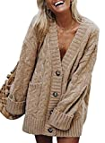 Dearlove Women's Long Sleeve Cardigan for Women V Neck Solid Chunky Cardigan Button Cardigan Cable Knit Cardigan Sweaters Khaki