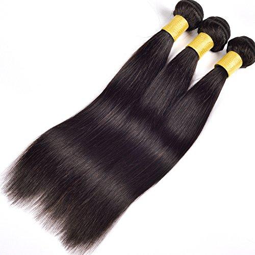 YanT HAIR 8A+ Grade Indian Virgin Hair Straight Human Hair Weave 3 Bundles 22 24 24 Inches Natural Black Color Pack of 3