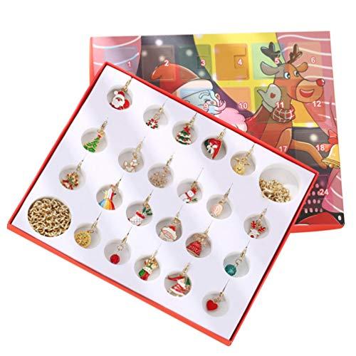PRETYZOOM Christmas Advent Calendar Gift Jewelry Box Christmas Jewelry Charm Bracelet Advent Calendar DIY Jewelry Countdown to 2020 Christmas for Kids Women