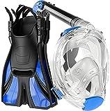 cozia design Snorkel Set Adult - Full Face Snorkel Mask and Adjustable Swim Fins, 180° Panoramic View Scuba Mask, Anti Fog and Anti Leak Snorkeling Gear (Light Blue, L/XL)