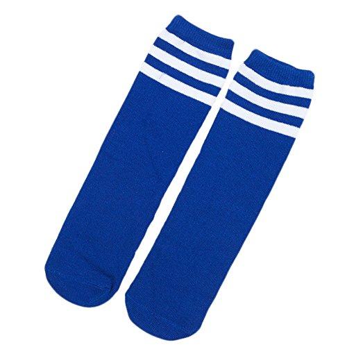 HugeDE Kleinkinder Streifen Socken Overknee Strümpfe Kniestrumpfe Sportsocken Socken Jungen Mädchen Blaues Weiß