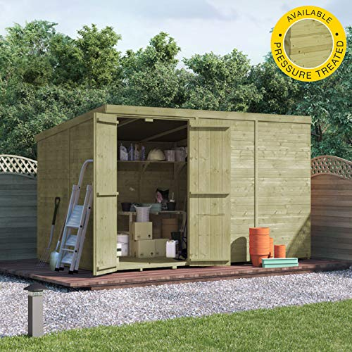 BillyOh Master Tongue & Groove Pent Shed | Pressure Treated Wooden Garden Storage | Windowless with Roof and Floor Included - 2 Sizes (10x6)