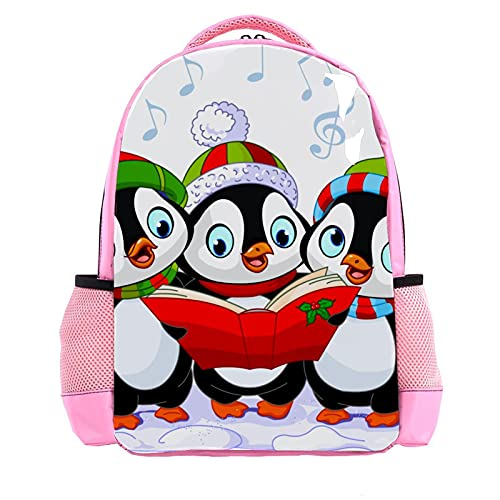 Girl Pink Backpack Women Shoulder Bags College Bookbag Travel Rucksack Christmas Carolers Penguins