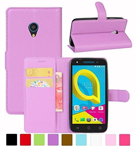 HualuBro Alcatel U5 3G Hülle, Leder Brieftasche Etui Tasche Schutzhülle HandyHülle [Standfunktion] Leather Wallet Flip Hülle Cover für Alcatel U5 3G (Violett)
