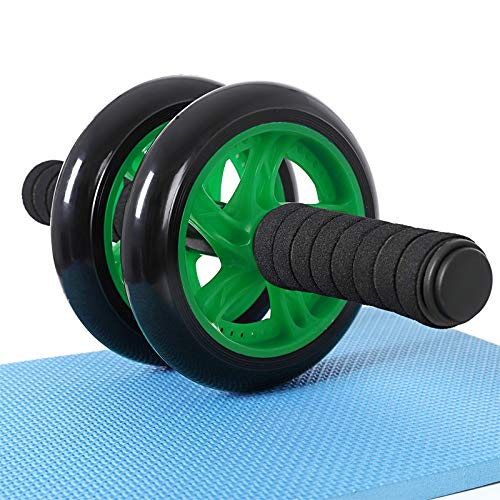 SONGMICS Bauchroller, AB Roller Bauchtrainer, AB Wheel für Fitness, mit Rutschfester, gut gepolsterter Kniematte, Bauchmuskeltraining und Muskelaufbau, für Frauen und Männer (Schwarz + Grün)