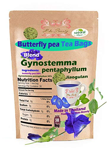 (Jiaogulan) Gynostemma Pentaphyllum Blend Butterfly pea flowers 30 Tea Bags Original Grown in Thailand