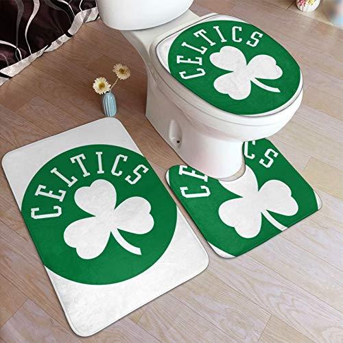 Celtic FC - Juego de alfombrillas de baño y alfombrilla de inodoro en forma de U con adhesivo antideslizante para suelo, bañera, ducha, dormitorio, lavable a máquina, 49,5 x 80 cm