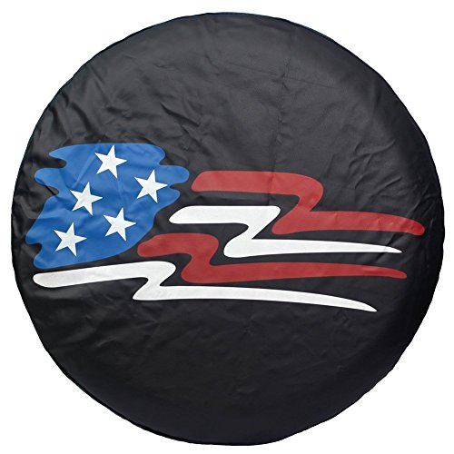 """Spare Tire Cover 15 inch, Tires Wheel Cover Black for RV Trailer Camper Motorhome Jeep Wrangler Honda Toyota BMW, 14"""" 15"""" 16"""" 17"""", PVC Leather (15"""" for Tire Diameter 27""""-29"""")"""