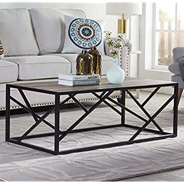 "Homissue 44"" Industrial Style Coffee Table, Rectangular Cocktail Table with Sturdy Metal Base for Living Room, Retro Brown Finish"