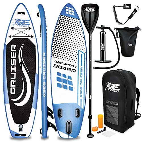 RE:SPORT SUP Board Set aufblasbar 305/320/366/380cm | Stand Up Paddle Board mit Zubehör | Paddling Surfbrett | Surfboard für Einsteiger & Fortgeschrittene (Blau, 320cm)