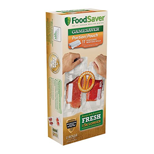 "FoodSaver GameSaver 11"" x 16' Portion Pouch Vacuum Seal Long Roll with BPA-Free Multilayer Construction, 2 Pack"