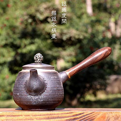 Teekanne Porzellan Steingut-Seitengriff-Topf Große Teekanne Keramik Holzgriff Teekanne Teekocher im japanischen Stil