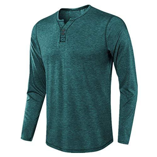 Camiseta de manga larga para hombre, color sólido, manga larga, para hombre
