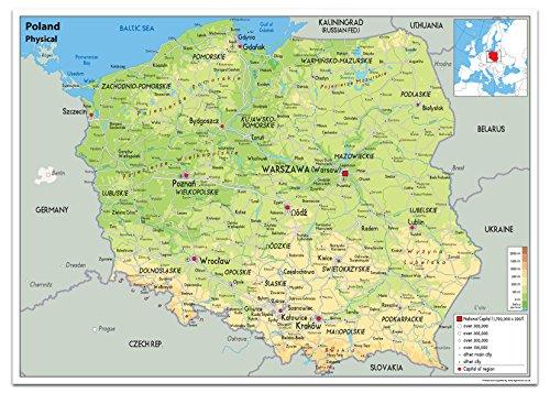 Physische Karte von Polen, laminiertes Papier [GA] A0 Size 84.1 x 118.9 cm