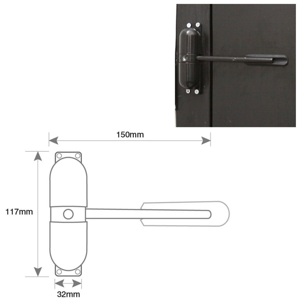 Door Closer Surface Mounted Spring Loaded Automatic Fire Rated Metal Adjustable