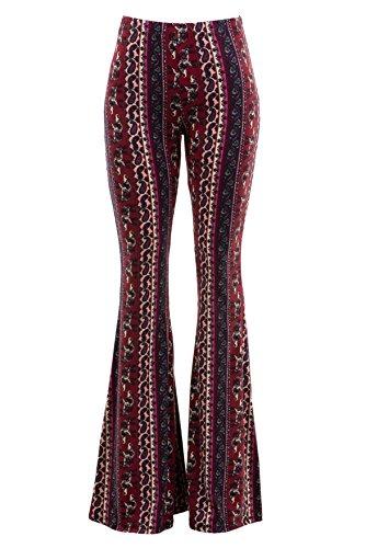 FASHIONOMICS Womens Boho Comfy Stretchy Bell Bottom Flare Pants (L, BH64)
