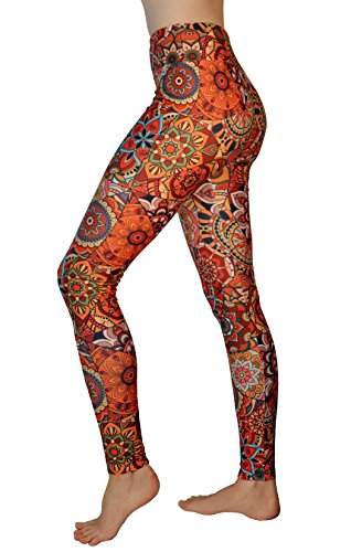 Comfy Yoga Pants - High Waisted Yoga Leggings with Bohemian Print - Extra Soft - Dry Fit (Happiness, One Size)