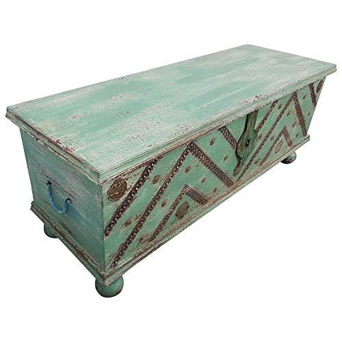 Indoortrend.com Truhe Kiste Holztruhe Vintage Grün Box aus Altholz Antik Handarbeit Unikat 12 - 2