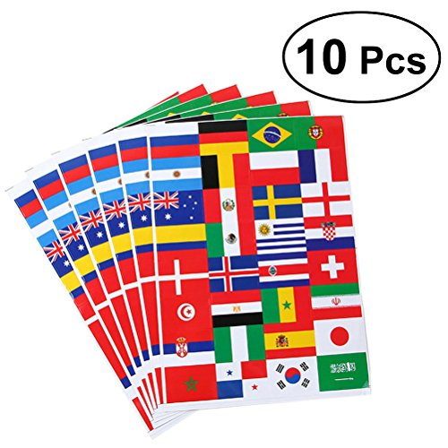 VORCOOL Pegatinas de Bandera Nacional 2018 Copa del Mundo de fútbol Top32 países Pegatinas de Papel de Bandera calcomanías 10pcs
