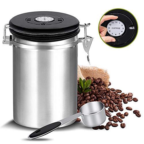 Kaffeedose Luftdicht,Kaffeebehälter,Kaffeedose Edelstahl Aromadose Vorratsdose,kaffeebohnenbehälter vakuum kaffeedose mit löffel,für Kaffeebohnen oder Kaffeepulver,Tee,Nüsse,Kakao 1.5Liter,Silber