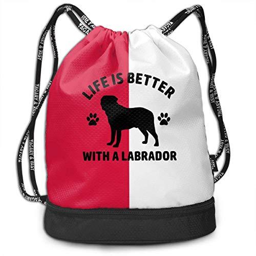 KLing La Vida es Mejor con una Mochila con cordón Labrador para Hombre y para Mujer, 100% poliéster, Bolsos de Mano Originales