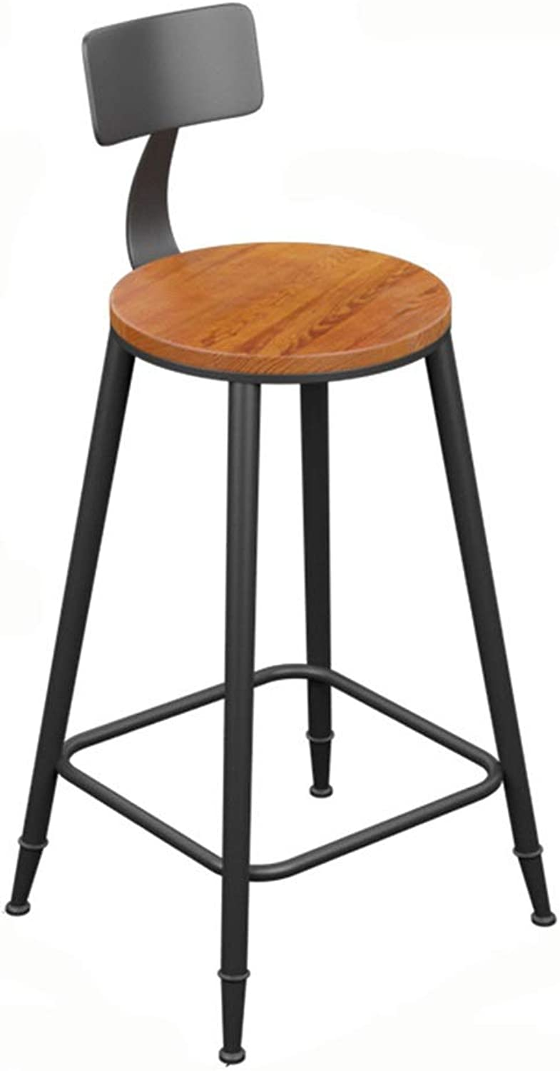 LJFYXZ Bar Stool Modern Wrought Iron bar Chair Solid Wood Round seat Kitchen Chair Bearing Weight 200kg Seat Height 45 60 68 73cm (Size   68CM)