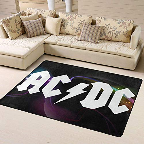 ACDC Logo Non-Slip Rug Bedroom Rugs, Modern Luxury Indoor Plush Rug for Living Room Room Furry Carpet,63 X 48 Inches