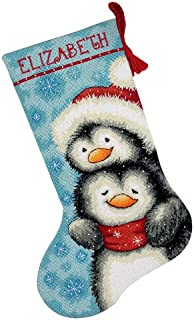 Dimensions Needlepoint Hugging Penguins Personalized Christmas Stocking Kit, Printed 12 Mesh Canvas, 16''