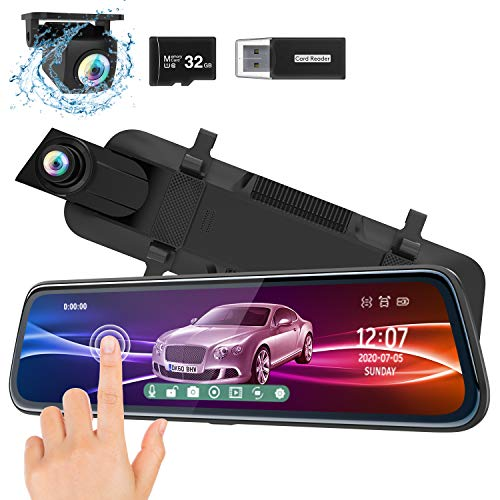 ThiEYE Mirror Dash Cam 1080P Dual Dash Camera Front and Rear with Waterproof...