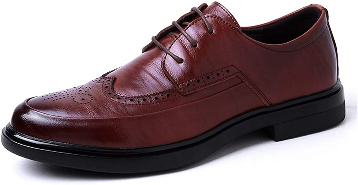 Brogue Casual shoes For Men PU Leather Business Dress Loafers Wingtip Anti-slip Flat Lace Up Round Toe shoes Cricket shoes (color   Brown, Size   8 UK)