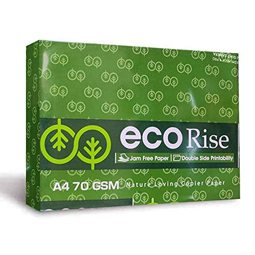 Eco Rise Printing Copy A4 Size JK Paper ECO TREE FRIENDLY, 70 GSM, 500 SHEETS, Office School Drawing White Jam Free Paper
