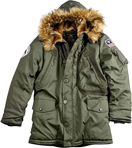 ALPHA INDUSTRIES Herren Polar Jacket Parkas, Grün (Dark Green 257), Small