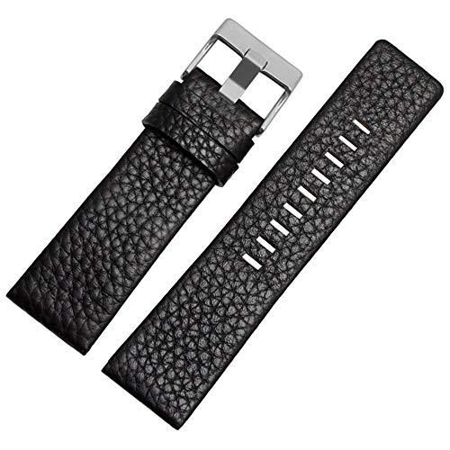Pulseira de relógio de couro da Calfskin, adequada para relógios masculinos Diesel, black1, 24mm
