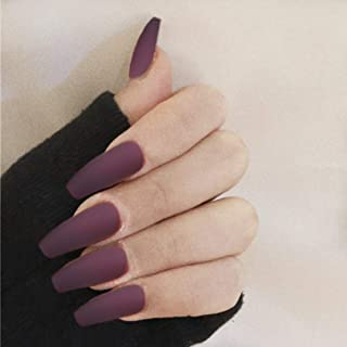 MISUD Long Coffin Fake Nails Matte Brown Full Cover False Nails with 12pcs Adhesive Stickers