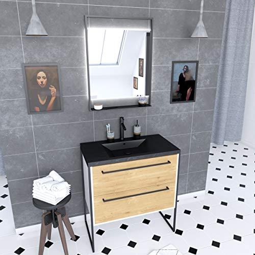 Aurlane - Mueble de baño de 80 x 50 cm + 2 cajones de roble natural + lavabo negro efecto piedra + espejo LED