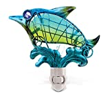 Puzzled Glass Art Night Light, Energy Efficient Plug in Decorative Socket Lamp, Manual On & Off Portable Lights for Stairway, Bedroom, Bathroom, Nursery, Home Accessory & Kitchen Decor - Dolphin