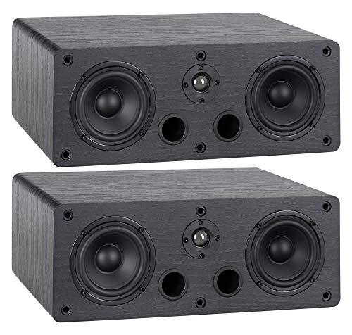 McGrey CS-440 BK Regal Lautsprecher Set - Paar Multifunktions Satelliten HiFi Box für Surround-System, Musik und Heimkino - 2-Wege Full-Range Center Lautsprecher mit 40W RMS Leistung - Schwarz