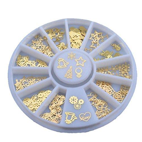 DDLBiz 3D Metal Christmas Nail Art Decoration Slice Golden Stickers Decals