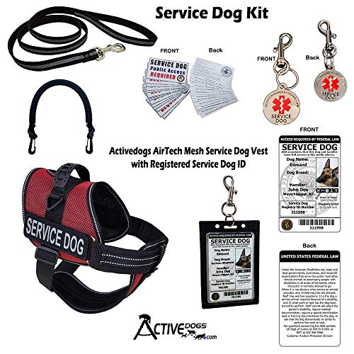 """Activedogs Service Dog Kit Airtech Mesh Service Dog Vest Harness + Free Registered Service Dog ID + Clip-on Bridge Handle + 30 ADA/Federal Law Cards + Service Dog Travel Tag (XS - Girth 16""""-20"""", Red)"""