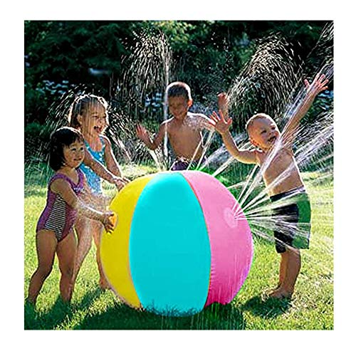 XBYEE Sprinkler Toys for Older Kids Outdoor, Sprinkler for Kids Ball - Summer Fun Garden Pool Beach Children's Inflatable (Four spouts 70cm in Diameter)