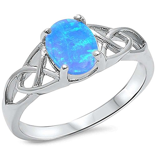 Solitaire Ring Oval Lab Created Blue Opal 925 Sterling Silver Celtic Accent