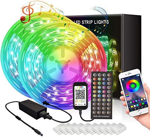 Tiras LED RGB 5050, 10 M Bluetooth Tiras de Luces LED Iluminación con 12V 300 LEDS, Función Musical, APP y de Control Remoto, Impermeable IP65, 16 Millones de Colores, 8 Modos pare Hoga Jardín Fiesta