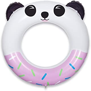 QUN FENG Pool Float Swim Ring Inflatable Pool Swim Rounge for Kids and Adults 8+ Years up Pool Floaties Outdoor Summer Water Game, Panda Pink