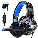 Auriculares para juegos, estéreo con micrófono para juegos de auriculares de 3,5 mm Jack sobre la oreja para Xbox One para iPad